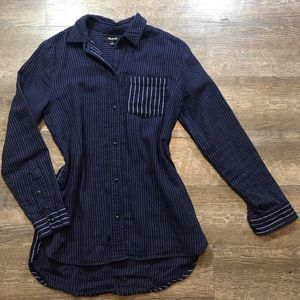 Madewell blue button up striped top